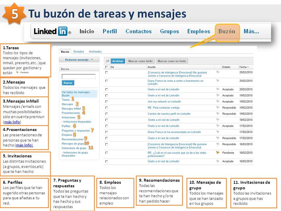 Tu buzón de tareas y mensajes 1.Tareas Todos los tipos de mensajes (invitaciones, inmail, presents,etc..)que quedan por gestionar y están 2.Mensajes T