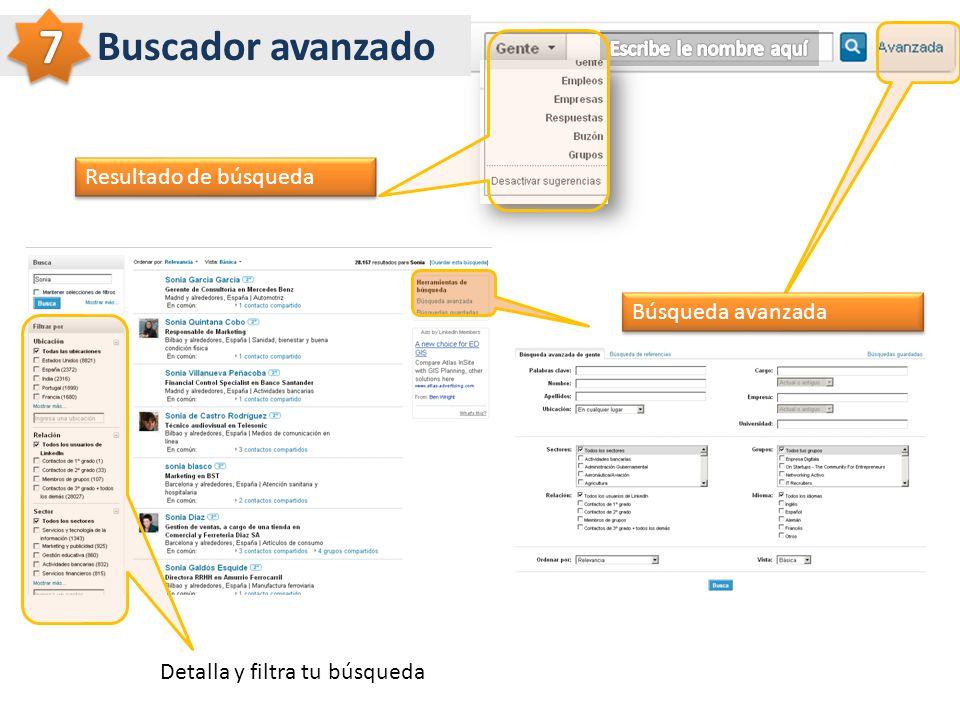 Buscador avanzado Resultado de búsqueda Búsqueda avanzada Detalla y filtra tu búsqueda