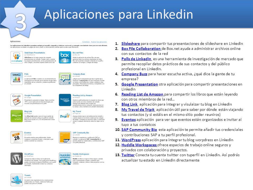 1.Slideshare para compartir tus presentaciones de slideshare en LinkedinSlideshare 2.Box File Collaboration de Box.net ayuda a administrar archivos on