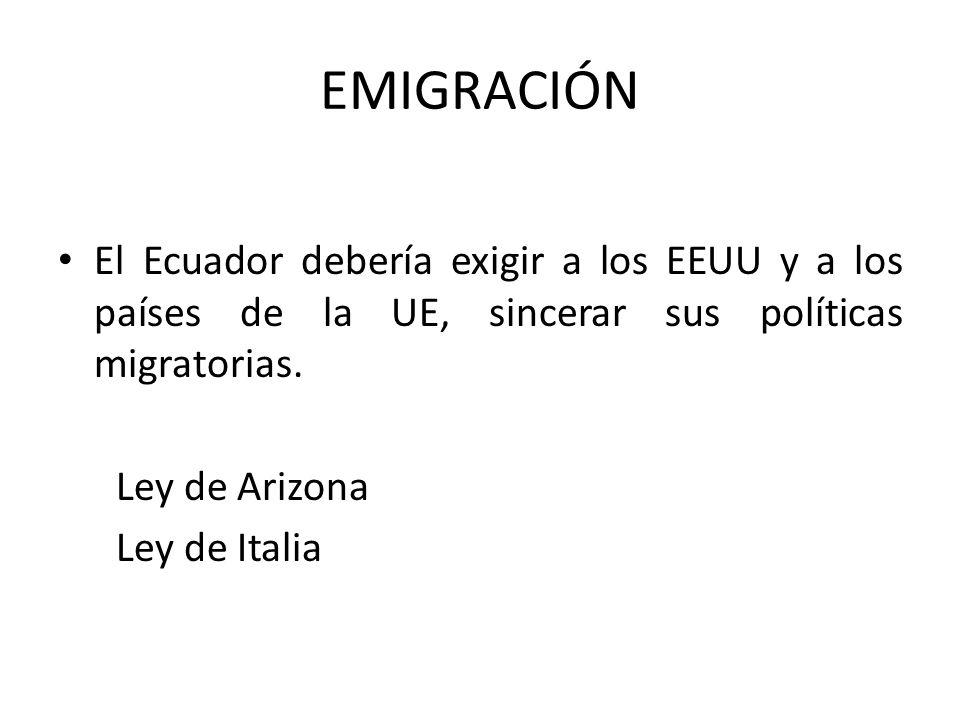 EMIGRACIÓN El Ecuador debería exigir a los EEUU y a los países de la UE, sincerar sus políticas migratorias.