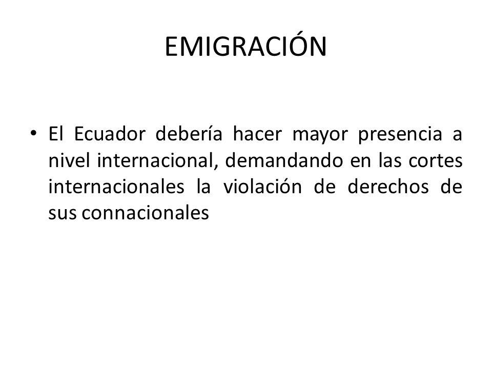 EMIGRACIÓN El Ecuador debería hacer mayor presencia a nivel internacional, demandando en las cortes internacionales la violación de derechos de sus connacionales