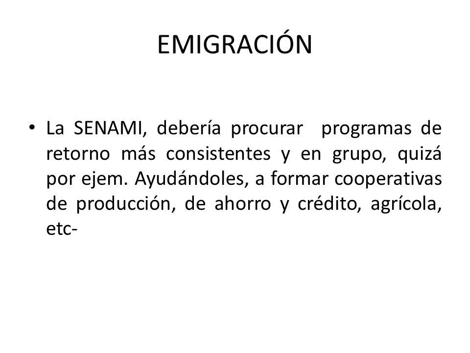 EMIGRACIÓN La SENAMI, debería procurar programas de retorno más consistentes y en grupo, quizá por ejem.