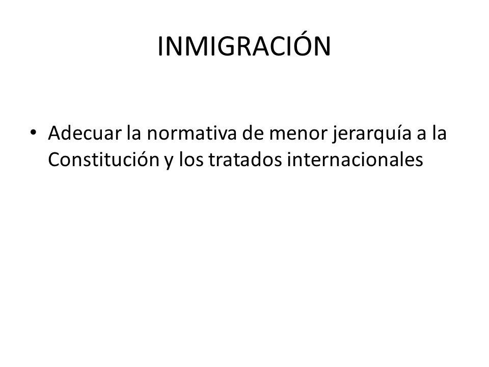 INMIGRACIÓN Adecuar la normativa de menor jerarquía a la Constitución y los tratados internacionales