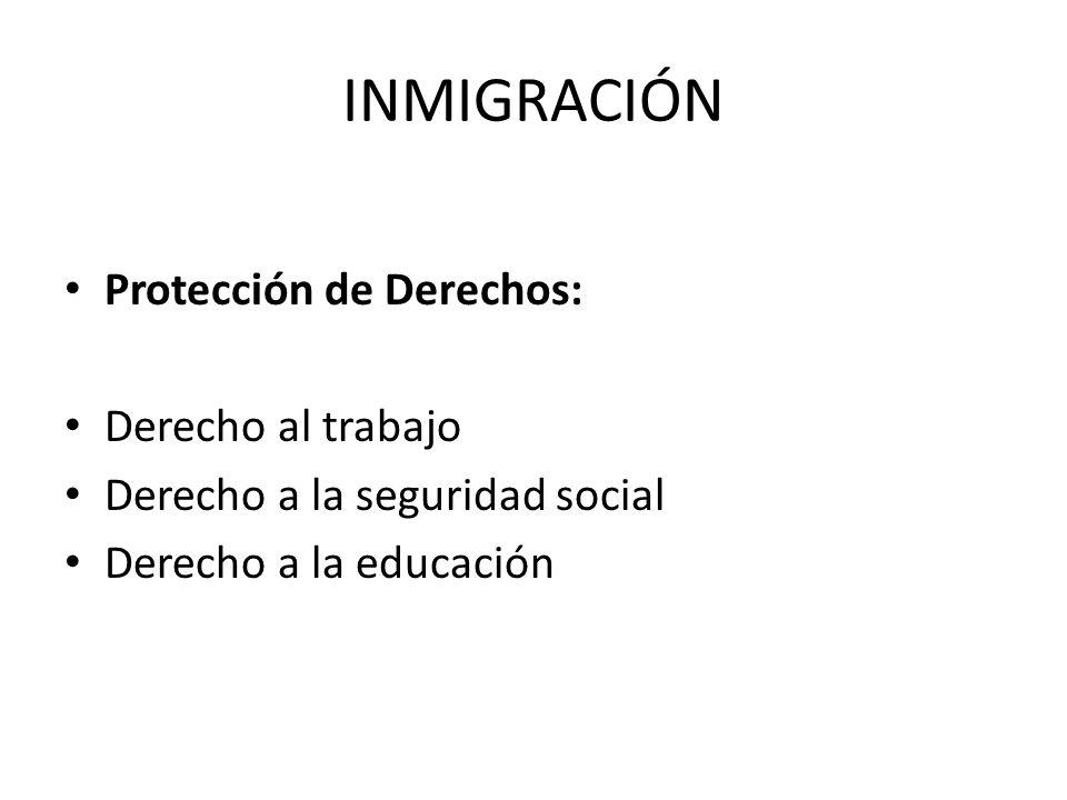 INMIGRACIÓN Protección de Derechos: Derecho al trabajo Derecho a la seguridad social Derecho a la educación