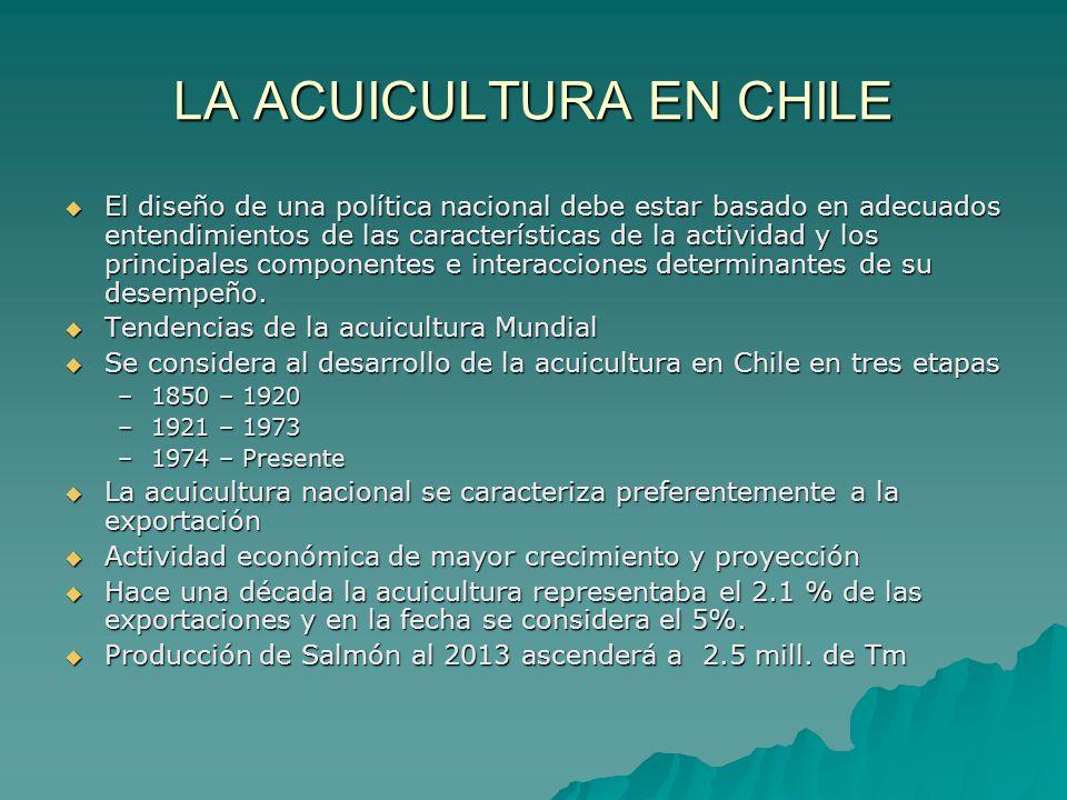 LA ACUICULTURA EN CHILE El diseño de una política nacional debe estar basado en adecuados entendimientos de las características de la actividad y los
