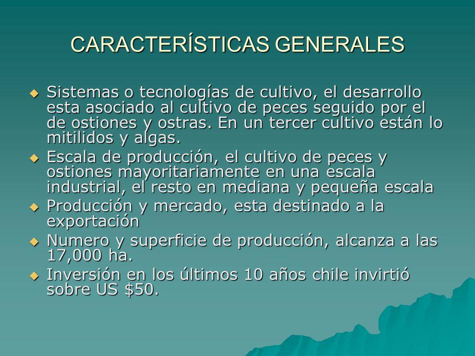 CARACTERÍSTICAS GENERALES Sistemas o tecnologías de cultivo, el desarrollo esta asociado al cultivo de peces seguido por el de ostiones y ostras. En u