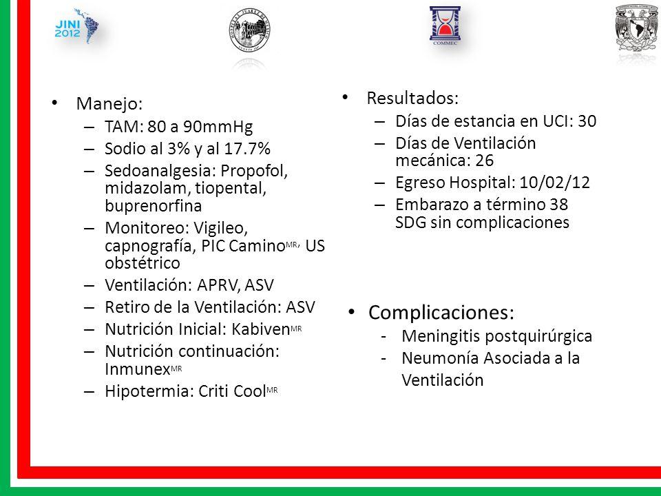 Resultados: – Días de estancia en UCI: 30 – Días de Ventilación mecánica: 26 – Egreso Hospital: 10/02/12 – Embarazo a término 38 SDG sin complicacione