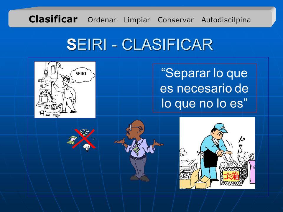SEIRI - CLASIFICAR Separar lo que es necesario de lo que no lo es Clasificar Ordenar Limpiar Conservar Autodiscilpina