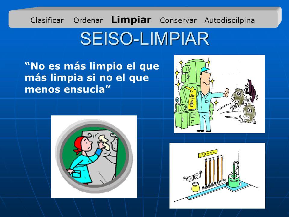 SEISO-LIMPIAR No es más limpio el que más limpia si no el que menos ensucia Clasificar Ordenar Limpiar Conservar Autodiscilpina