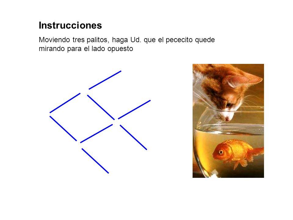 Instrucciones Moviendo tres palitos, haga Ud. que el pececito quede mirando para el lado opuesto