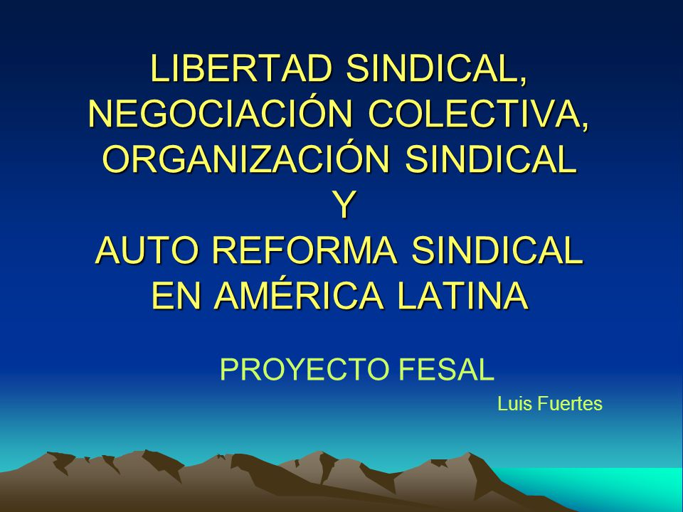LIBERTAD SINDICAL, NEGOCIACIÓN COLECTIVA, ORGANIZACIÓN SINDICAL Y AUTO REFORMA SINDICAL EN AMÉRICA LATINA PROYECTO FESAL Luis Fuertes
