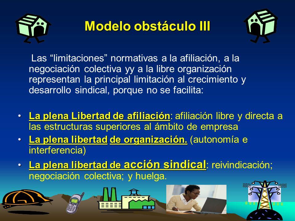 Modelo obstáculo III Las limitaciones normativas a la afiliación, a la negociación colectiva yy a la libre organización representan la principal limit