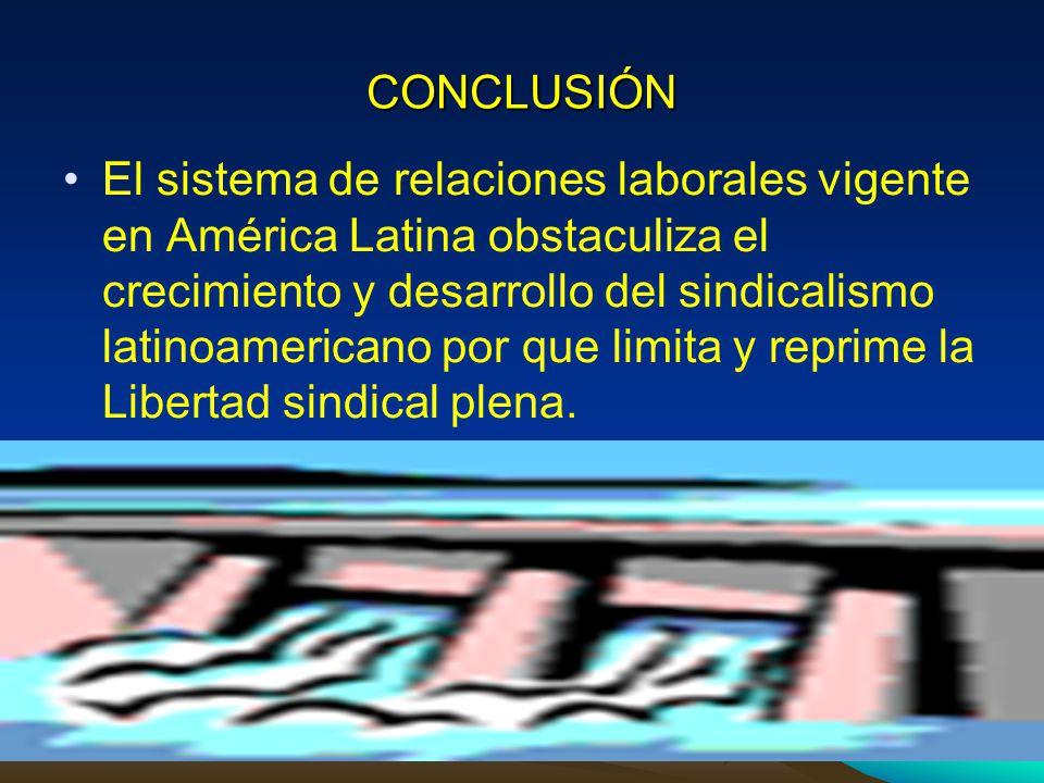 CONCLUSIÓN El sistema de relaciones laborales vigente en América Latina obstaculiza el crecimiento y desarrollo del sindicalismo latinoamericano por q