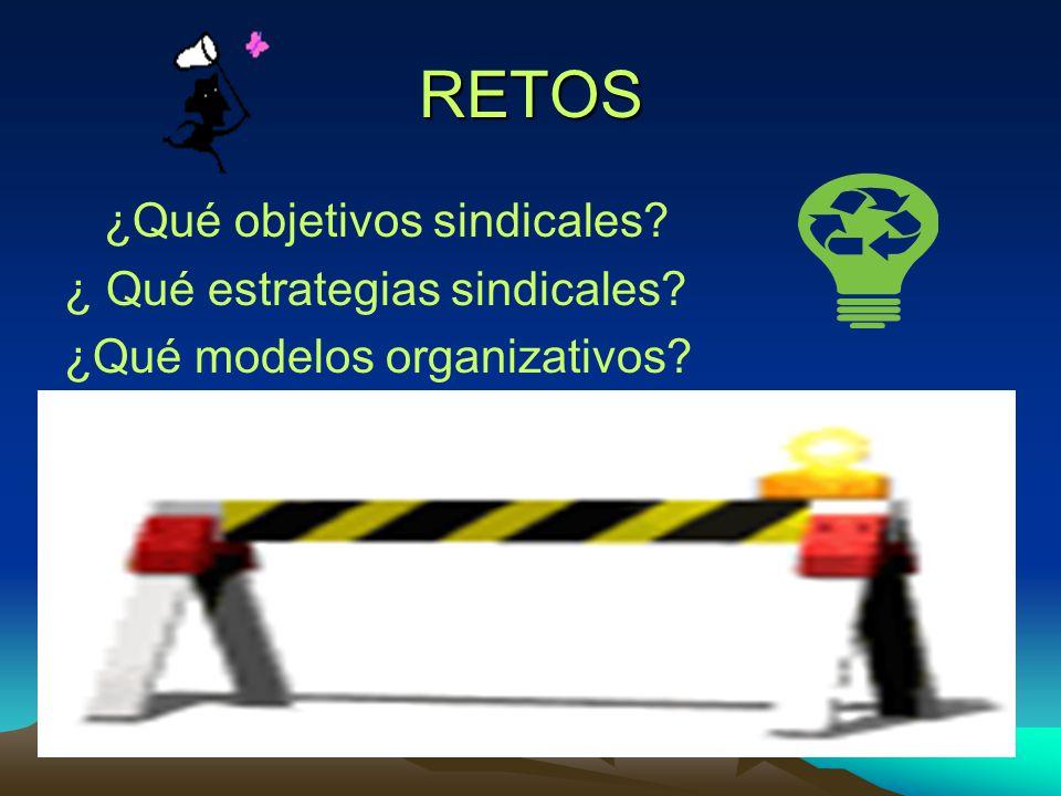 RETOS ¿Qué objetivos sindicales? ¿ Qué estrategias sindicales? ¿Qué modelos organizativos?