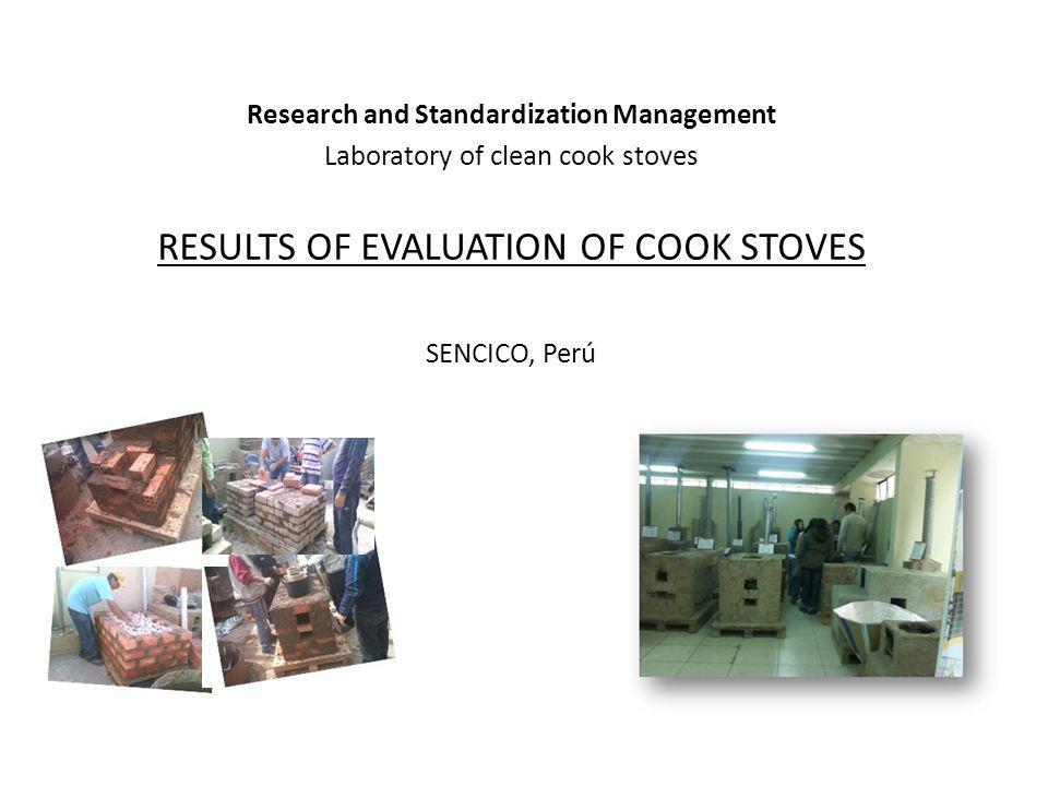 EVALUATION TO COOK STOVES IN PERU Polution PID (Polution indoors) Energy efficiency WBT (water boiling test) Safety (Safety test– Max.