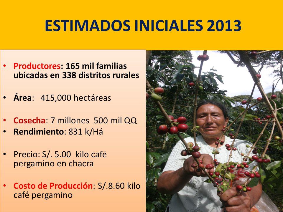 ESTIMADOS INICIALES 2013 Productores: 165 mil familias ubicadas en 338 distritos rurales Área: 415,000 hectáreas Cosecha: 7 millones 500 mil QQ Rendimiento: 831 k/Há Precio: S/.