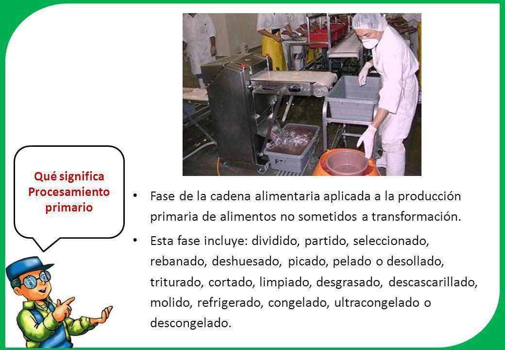 Fase de la cadena alimentaria aplicada a la producción primaria de alimentos no sometidos a transformación.