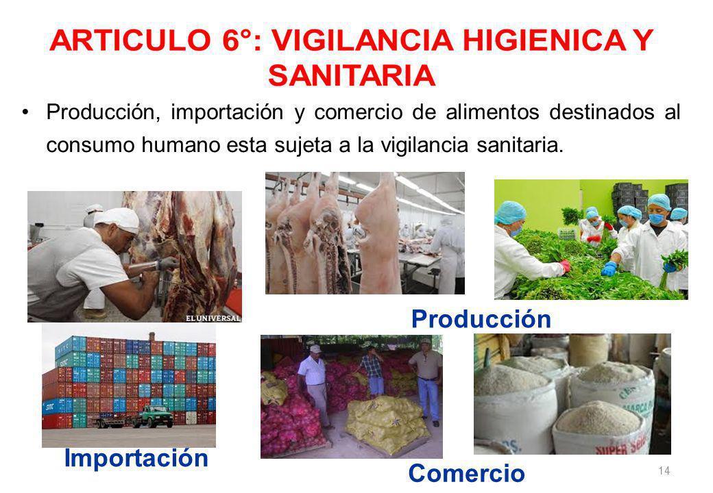 14 Producción, importación y comercio de alimentos destinados al consumo humano esta sujeta a la vigilancia sanitaria.