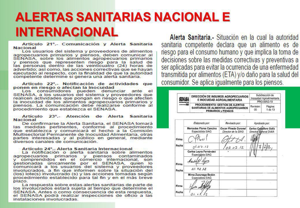 ALERTAS SANITARIAS NACIONAL E INTERNACIONAL