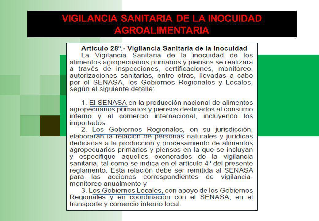 VIGILANCIA SANITARIA DE LA INOCUIDAD AGROALIMENTARIA