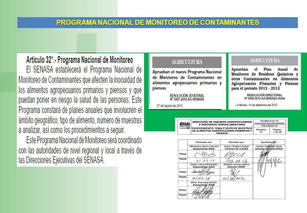 PROGRAMA NACIONAL DE MONITOREO DE CONTAMINANTES