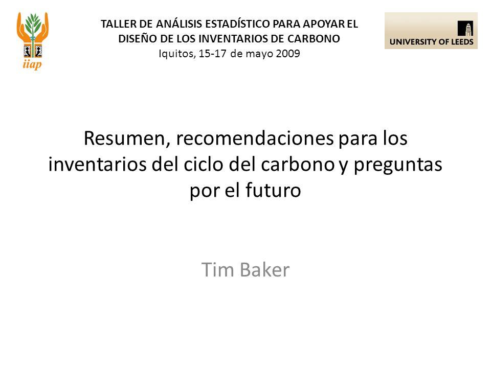 TALLER DE ANÁLISIS ESTADÍSTICO PARA APOYAR EL DISEÑO DE LOS INVENTARIOS DE CARBONO Iquitos, 15-17 de mayo 2009 Tim Baker Resumen, recomendaciones para