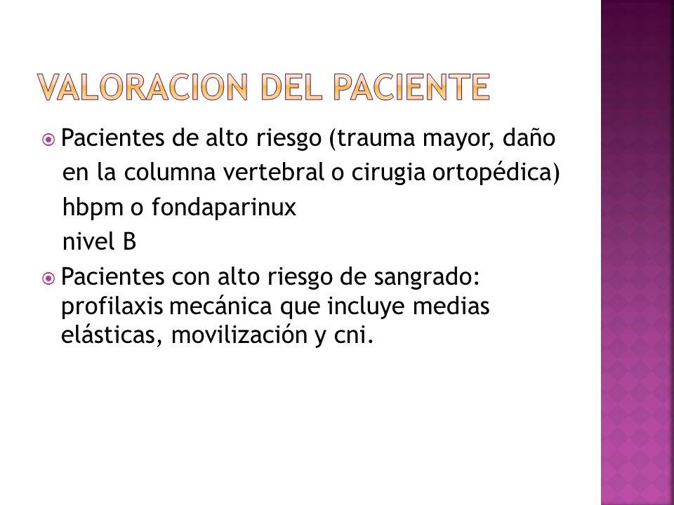 Pacientes de alto riesgo (trauma mayor, daño en la columna vertebral o cirugia ortopédica) hbpm o fondaparinux nivel B Pacientes con alto riesgo de sa