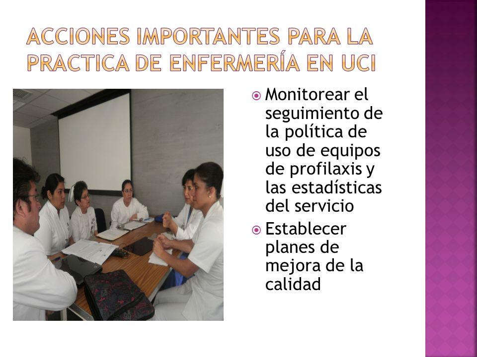 Monitorear el seguimiento de la política de uso de equipos de profilaxis y las estadísticas del servicio Establecer planes de mejora de la calidad