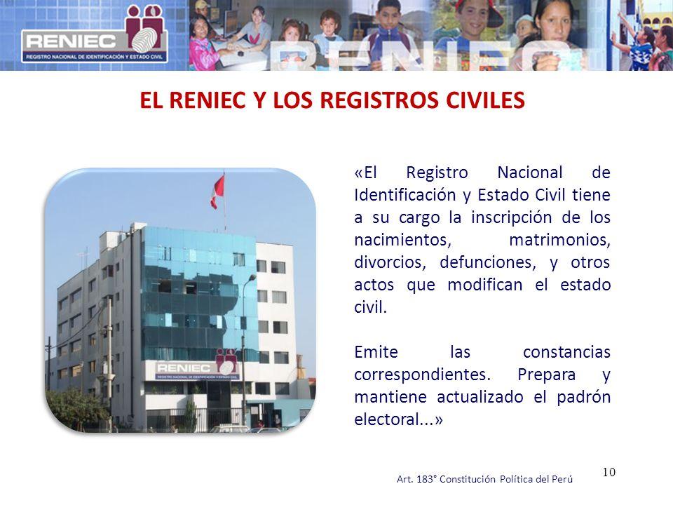 «El Registro Nacional de Identificación y Estado Civil tiene a su cargo la inscripción de los nacimientos, matrimonios, divorcios, defunciones, y otro