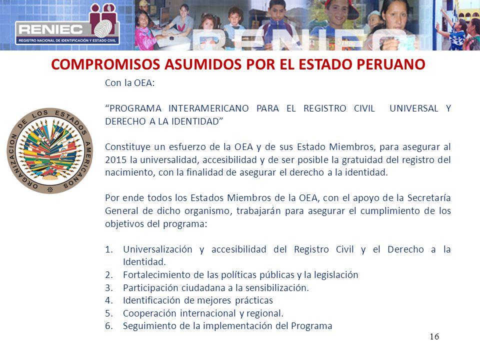 COMPROMISOS ASUMIDOS POR EL ESTADO PERUANO Con la OEA: PROGRAMA INTERAMERICANO PARA EL REGISTRO CIVIL UNIVERSAL Y DERECHO A LA IDENTIDAD Constituye un