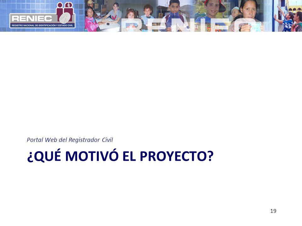 ¿QUÉ MOTIVÓ EL PROYECTO? Portal Web del Registrador Civil 19