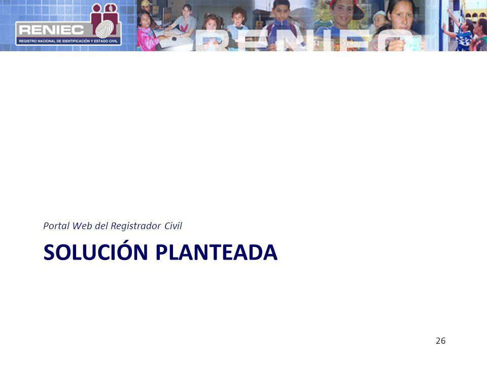 SOLUCIÓN PLANTEADA Portal Web del Registrador Civil 26