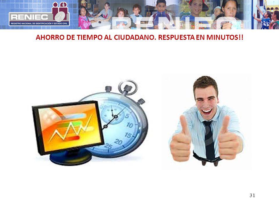 31 AHORRO DE TIEMPO AL CIUDADANO. RESPUESTA EN MINUTOS!!