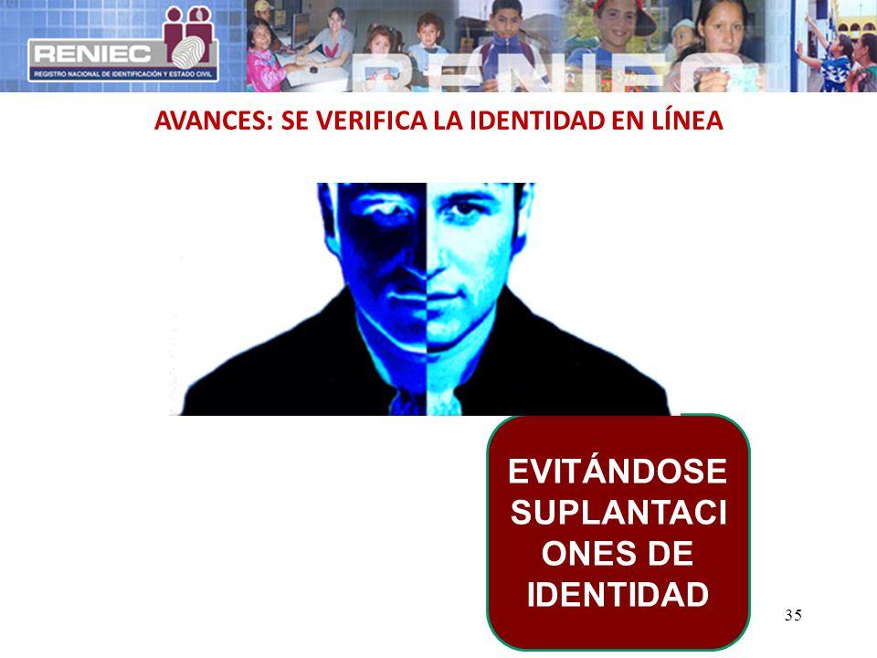 35 AVANCES: SE VERIFICA LA IDENTIDAD EN LÍNEA EVITÁNDOSE SUPLANTACI ONES DE IDENTIDAD