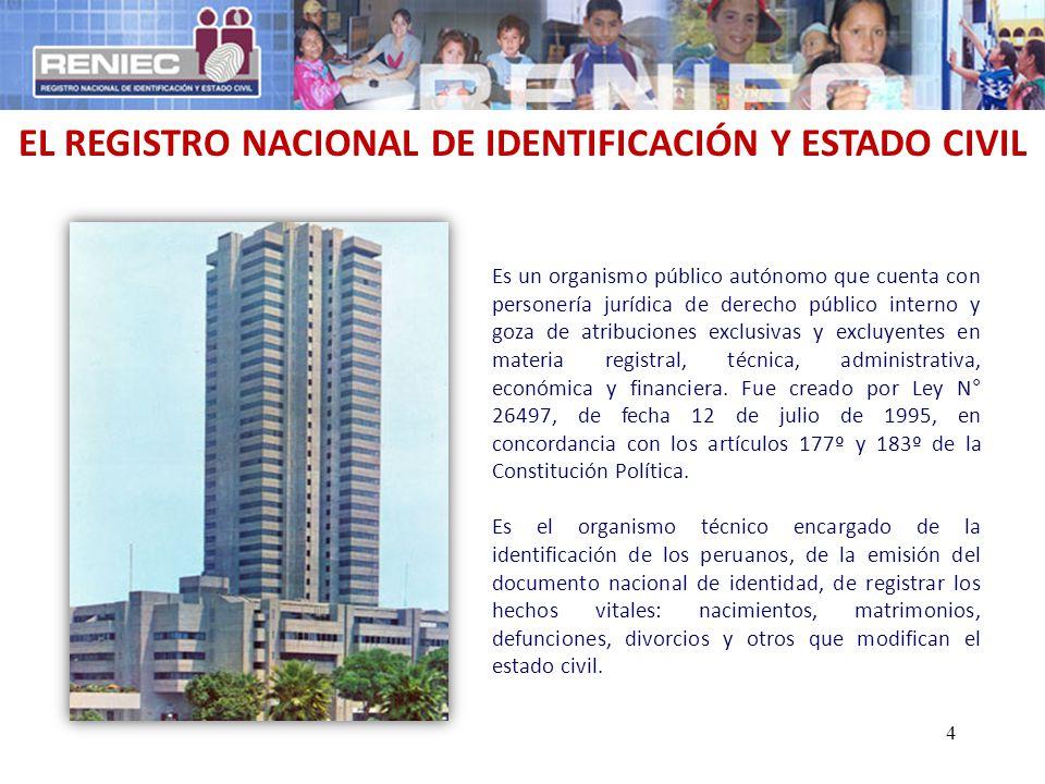 EL REGISTRO NACIONAL DE IDENTIFICACIÓN Y ESTADO CIVIL Es un organismo público autónomo que cuenta con personería jurídica de derecho público interno y