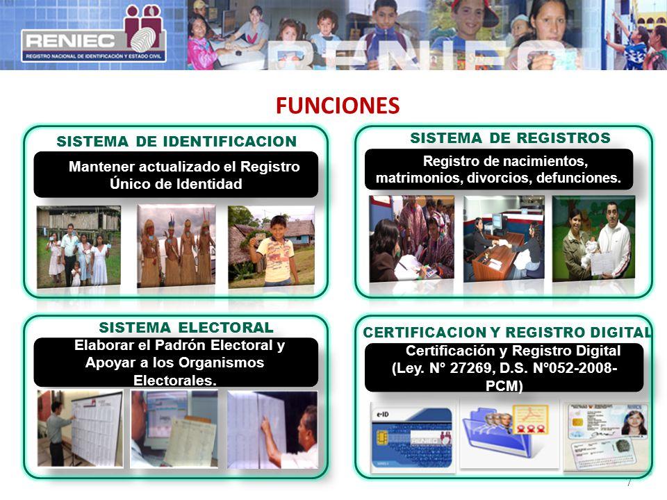 FUNCIONES 7 SISTEMA DE REGISTROS CIVILES Registro de nacimientos, matrimonios, divorcios, defunciones. Certificación y Registro Digital (Ley. N° 27269
