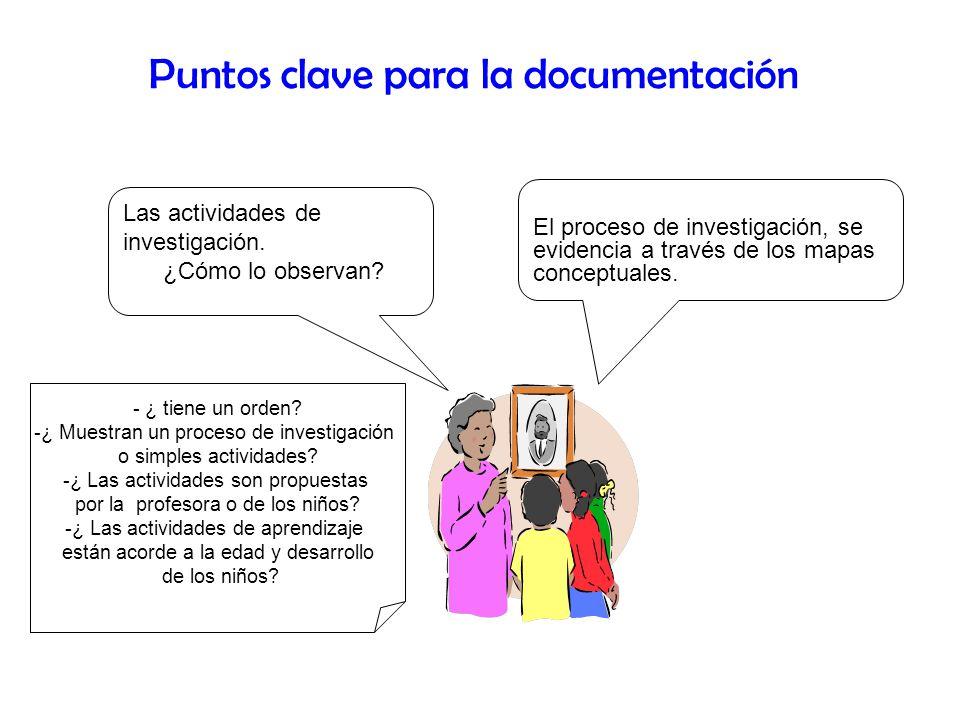 Las actividades de investigación. ¿Cómo lo observan? Puntos clave para la documentación - ¿ tiene un orden? -¿ Muestran un proceso de investigación o