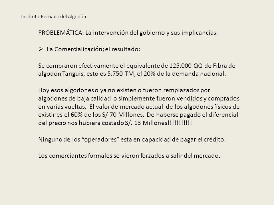 PROBLEMÁTICA: La intervención del gobierno y sus implicancias. La Comercialización; el resultado: Se compraron efectivamente el equivalente de 125,000