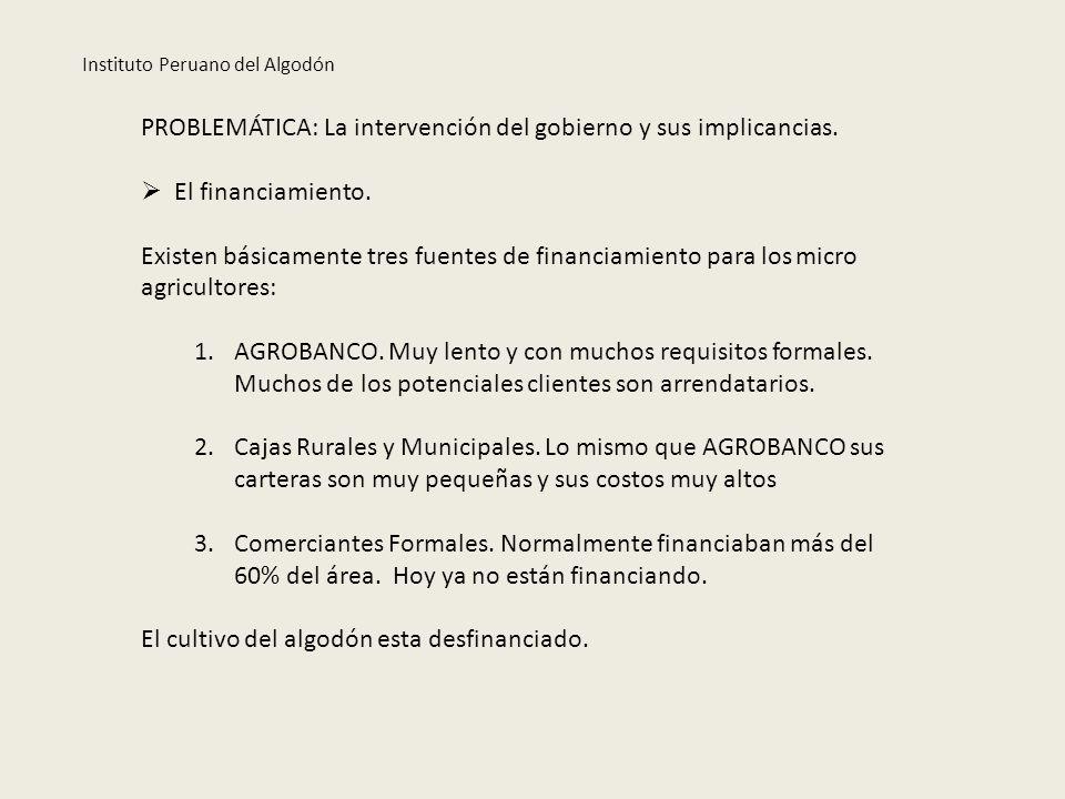Instituto Peruano del Algodón PROBLEMÁTICA: La intervención del gobierno y sus implicancias. El financiamiento. Existen básicamente tres fuentes de fi