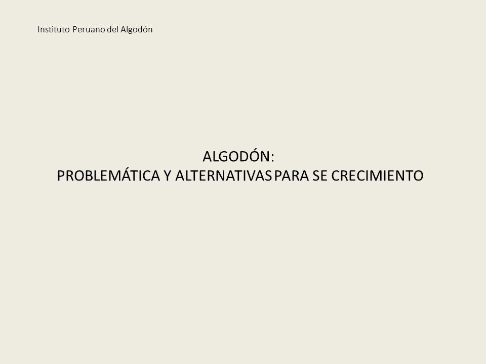 ALGODÓN: PROBLEMÁTICA Y ALTERNATIVAS PARA SE CRECIMIENTO Instituto Peruano del Algodón