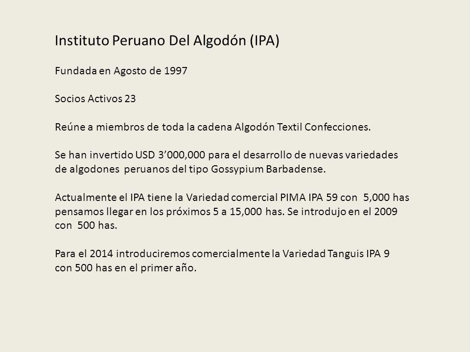 Instituto Peruano Del Algodón (IPA) Fundada en Agosto de 1997 Socios Activos 23 Reúne a miembros de toda la cadena Algodón Textil Confecciones. Se han