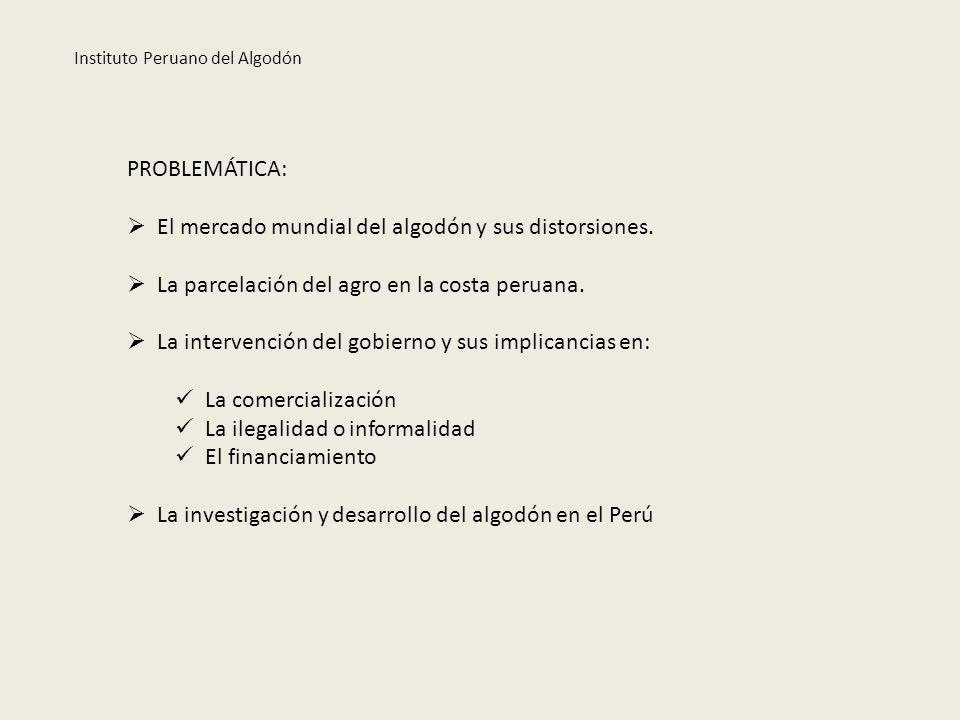 PROBLEMÁTICA: El mercado mundial del algodón y sus distorsiones. La parcelación del agro en la costa peruana. La intervención del gobierno y sus impli