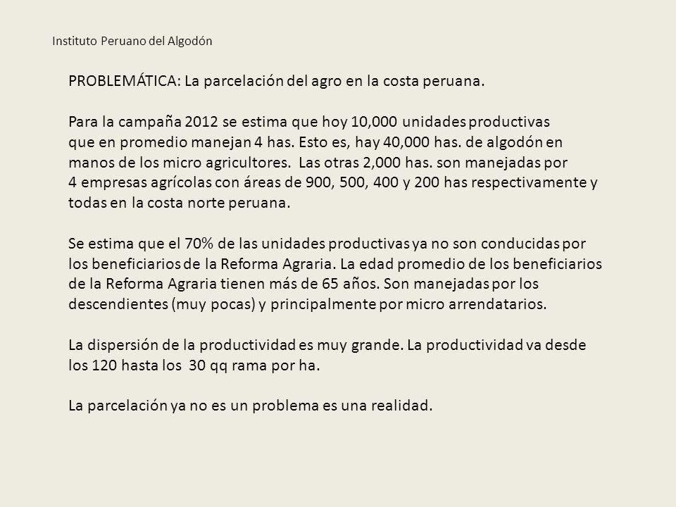PROBLEMÁTICA: La parcelación del agro en la costa peruana. Para la campaña 2012 se estima que hoy 10,000 unidades productivas que en promedio manejan