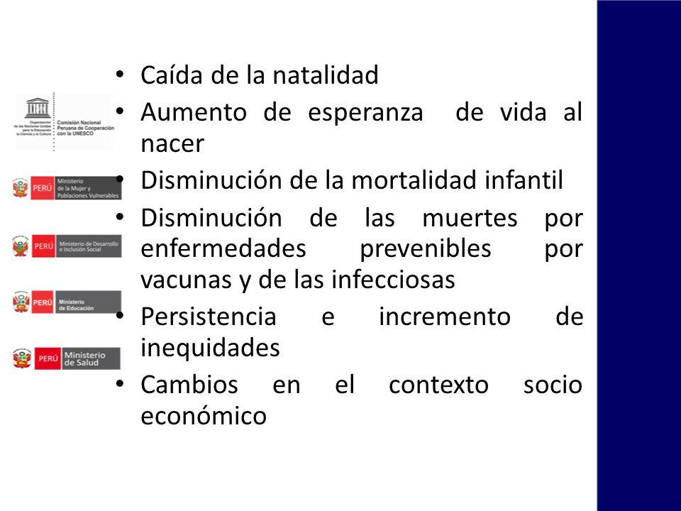 Caída de la natalidad Aumento de esperanza de vida al nacer Disminución de la mortalidad infantil Disminución de las muertes por enfermedades prevenib