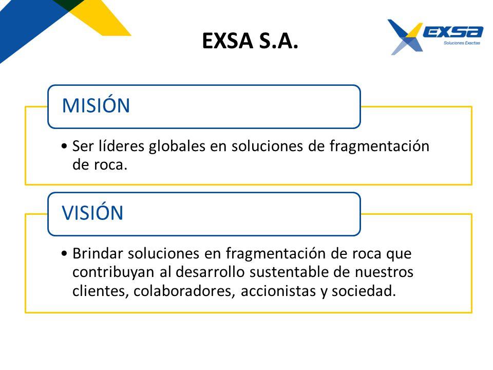 EXSA S.A. Ser líderes globales en soluciones de fragmentación de roca. MISIÓN Brindar soluciones en fragmentación de roca que contribuyan al desarroll