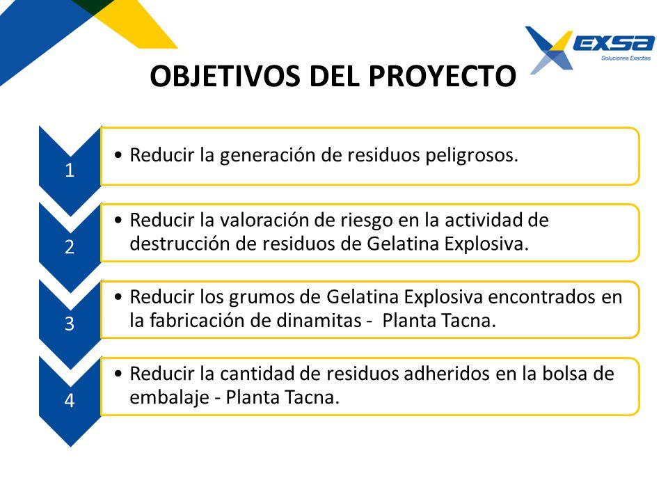 OBJETIVOS DEL PROYECTO 1 Reducir la generación de residuos peligrosos. 2 Reducir la valoración de riesgo en la actividad de destrucción de residuos de