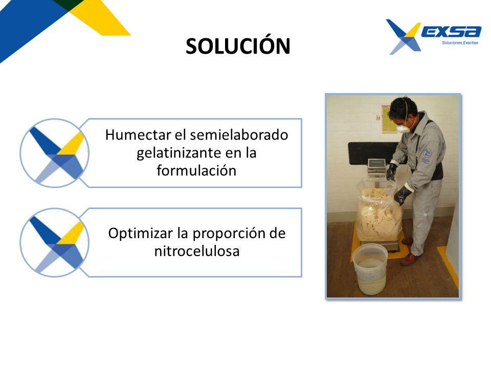 SOLUCIÓN Humectar el semielaborado gelatinizante en la formulación Optimizar la proporción de nitrocelulosa