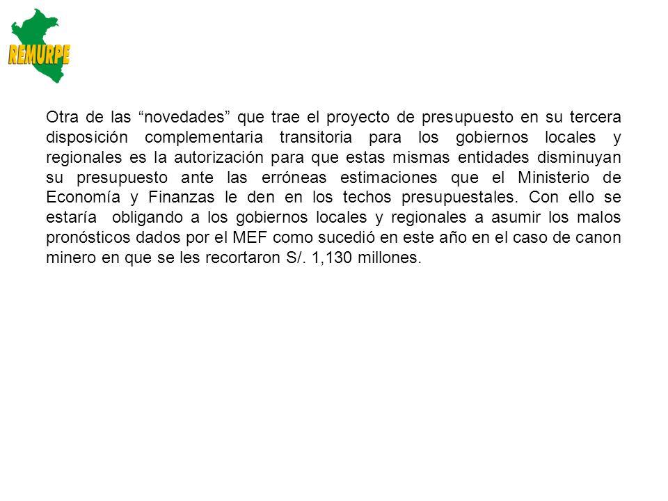 Conclusiones: a) Las municipalidades rurales a través de la Red de Municipalidades y Rurales del Perú – REMURPE demandan reestructurar el presupuesto del sector público 2014 debido a la mayor acumulación de recursos en el gobierno nacional, alcanzando el 70% del total del presupuesto y el 64% de los gastos de capital.