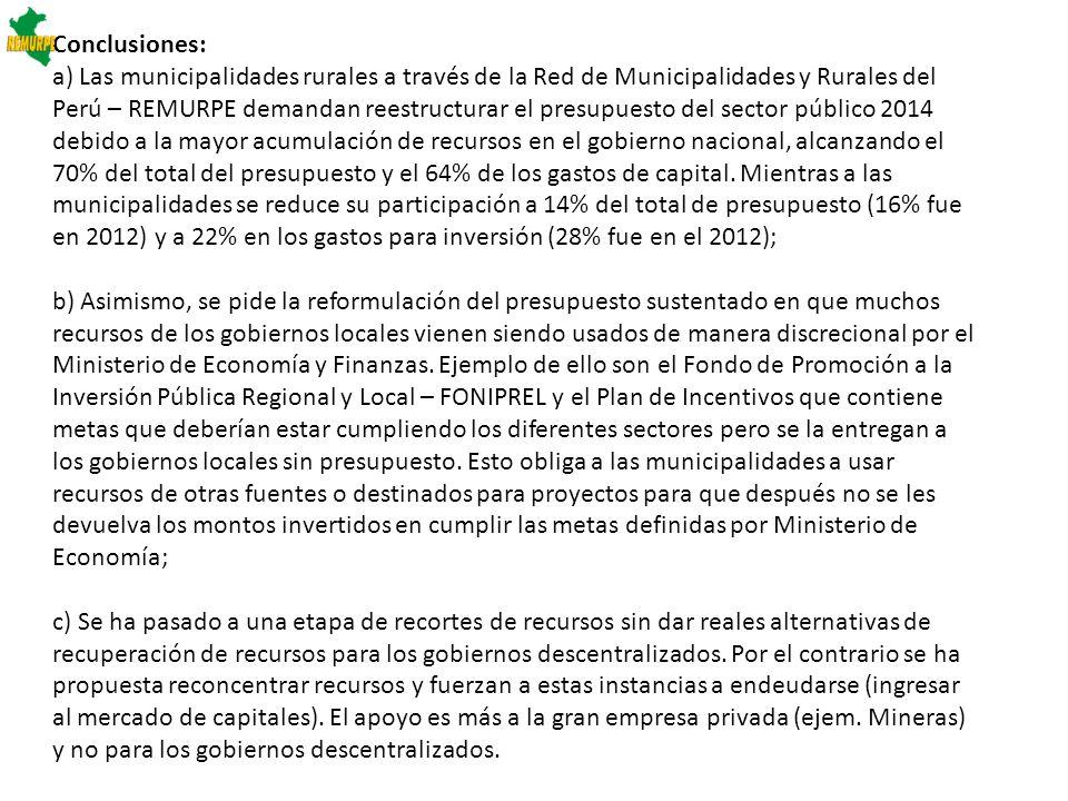 d) El MEF ante los primeros indicios de las variaciones de precios internacionales de las materias primas ha debido advertir sus consecuencias en el pago al impuesto a la renta de las mineras y petroleras no debiendo aprobar el alza del PIA que se hace con el presupuesto del sector público en el mes de noviembre del 2012 o a más tardar en anunciarlo en los primeros meses de este año, se acabo la etapa del ministerio infalible; e) Entramos a un nuevo ciclo de los recursos provenientes de las industrias extractivas debido a una tendencia a la disminución y/o estancamiento de precios internacionales de minerales por las nuevas condiciones del mercado internacional, pero aún siguen elevados en comparación a los históricos antes del 2003, lo que podría generar bajas por ingresos del canon a diferencia como se había venido dando en los últimos años; f) Debe haber mayor transparencia del gobierno central y en especial del MEF en la elaboración presupuestal y en la asignación de los recursos estatales que permita suplir la dependencia de recursos volátiles que tienen origen en los precios internacionales de materias primas; así mismo en el uso de los impuestos como el gravamen e impuesto especial cobrados a la minería sin conocerse su utilización ni destino;