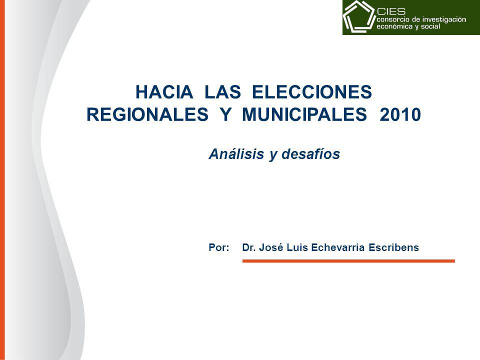 HACIA LAS ELECCIONES REGIONALES Y MUNICIPALES 2010 Análisis y desafíos Por: Dr.